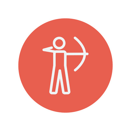 Archery sport thin line icon for web and mobile minimalistic flat design. Vector white icon inside the red circle. 向量圖像