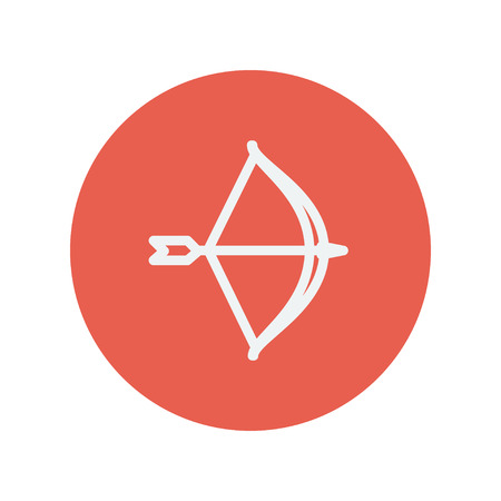 longshot: Bow and arrow thin line icon for web and mobile minimalistic flat design. Vector white icon inside the red circle.