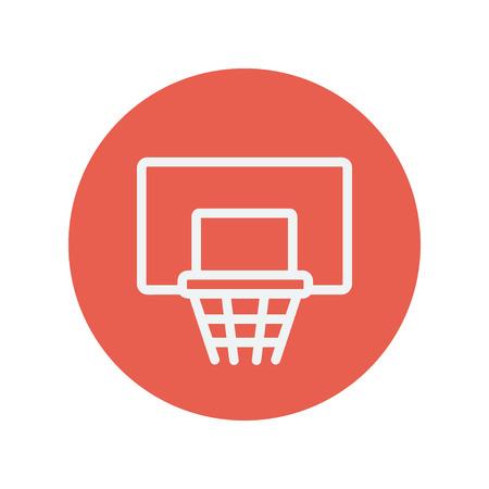 Basketbalring dunne lijn pictogram voor web en mobiele minimalistische platte design. Vector wit icoon in de rode cirkel.