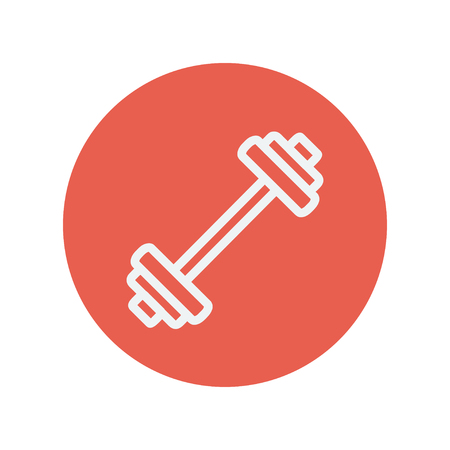 Barbell thin line icon for web and mobile minimalistic flat design. Vector white icon inside the red circle.