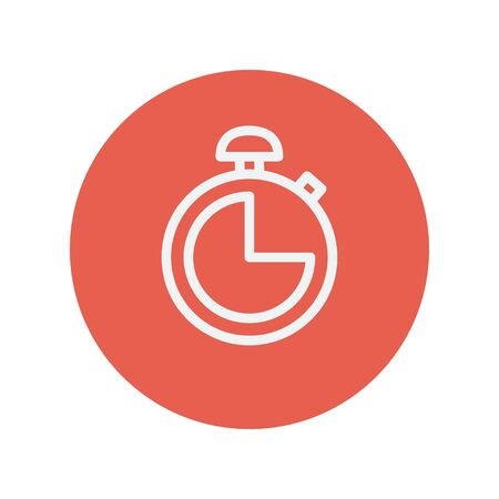 Stopwatch thin line icon for web and mobile minimalistic flat design. Vector white icon inside the red circle. Illustration