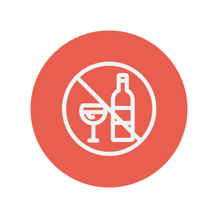 spirituous: No alcohol sign thin line icon for web and mobile minimalistic flat design. Vector white icon inside the red circle.