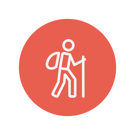 walking trail: Hiking exercise thin line icon for web and mobile minimalistic flat design. Vector white icon inside the red circle.