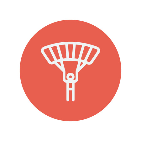 skydiving: Skydiving thin line icon for web and mobile minimalistic flat design. Vector white icon inside the red circle.