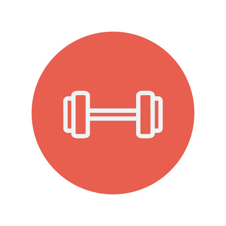 heavy load: Dumbell thin line icon for web and mobile minimalistic flat design. Vector white icon inside the red circle.