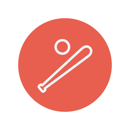 Baseball bat and ball thin line icon for web and mobile minimalistic flat design. Vector white icon inside the red circle.