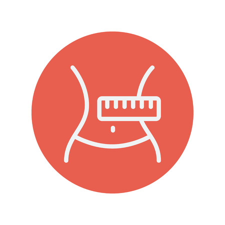 Slimming body with measuring tape thin line icon for web and mobile minimalistic flat design. Vector white icon inside the red circle. Illustration