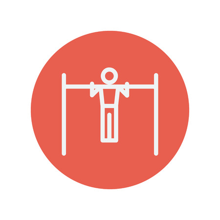 acrobat gymnast: Pull up exercise in a bar thin line icon for web and mobile minimalistic flat design. Vector white icon inside the red circle.
