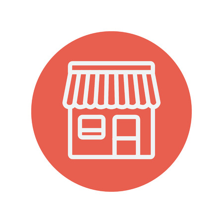 awnings: Store stall thin line icon for web and mobile minimalistic flat design. Vector white icon inside the red circle.