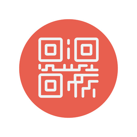 up code: QR code thin line icon for web and mobile minimalistic flat design. Vector white icon inside the red circle.
