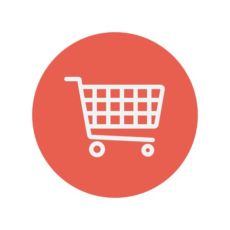 shopping cart icon: Shopping cart thin line icon for web and mobile minimalistic flat design. Vector white icon inside the red circle.