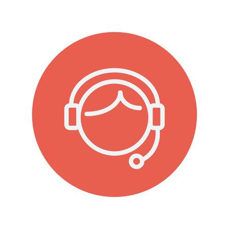 centro de computo: Atenci�n al cliente icono de l�nea delgada para web y dise�o plano m�vil minimalista. Vector icono blanco dentro del c�rculo rojo.