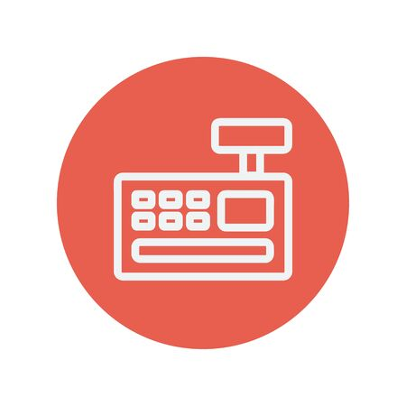 Cash register machine thin line icon for web and mobile minimalistic flat design. Vector white icon inside the red circle. Illustration
