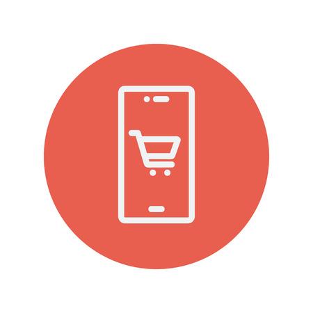 Locatie van het winkelwagentje dunne lijn pictogram voor web en mobiele minimalistische platte design. Vector wit icoon in de rode cirkel.
