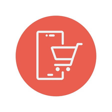 Shopping cart signboard thin line icon for web and mobile minimalistic flat design. Vector white icon inside the red circle.