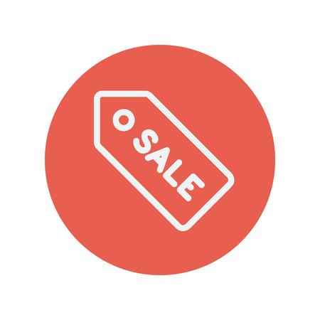 Sale tag thin line icon for web and mobile minimalistic flat design. Vector white icon inside the red circle. Illusztráció