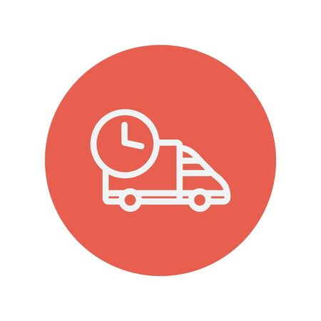 haulage: On time delivery van thin line icon for web and mobile minimalistic flat design. Vector white icon inside the red circle. Illustration