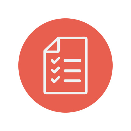 checklist: Checklist thin line icon for web and mobile minimalistic flat design. Vector white icon inside the red circle.