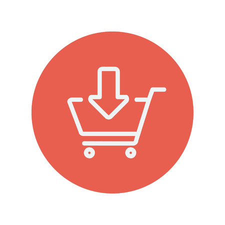 filling folder: Remove from shopping cart thin line icon for web and mobile minimalistic flat design. Vector white icon inside the red circle.