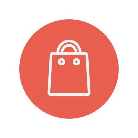 hand bag: Bolso de mano icono de l�nea delgada para web y dise�o plano m�vil minimalista. Vector icono blanco dentro del c�rculo rojo.