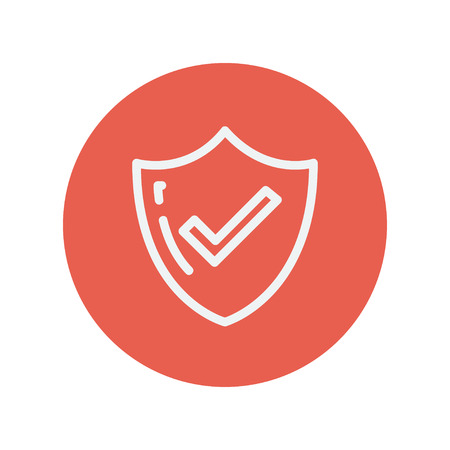 confirmed: Bestseller guaranteed badge thin line icon for web and mobile minimalistic flat design. Vector white icon inside the red circle.