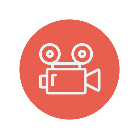 cinematography: Cinematography thin line icon for web and mobile minimalistic flat design. Vector white icon inside the red circle.
