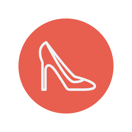 stilleto: Lady high heel shoe thin line icon for web and mobile minimalistic flat design. Vector white icon inside the red circle.