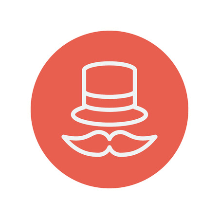 bowler hat: Vintage fashion hat and mustache thin line icon for web and mobile minimalistic flat design. Vector white icon inside the red circle.