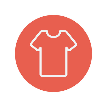T-shirt thin line icon for web and mobile minimalistic flat design. Vector white icon inside the red circle. Illustration
