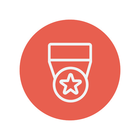 commendation: One star medal thin line icon for web and mobile minimalistic flat design. Vector white icon inside the red circle.