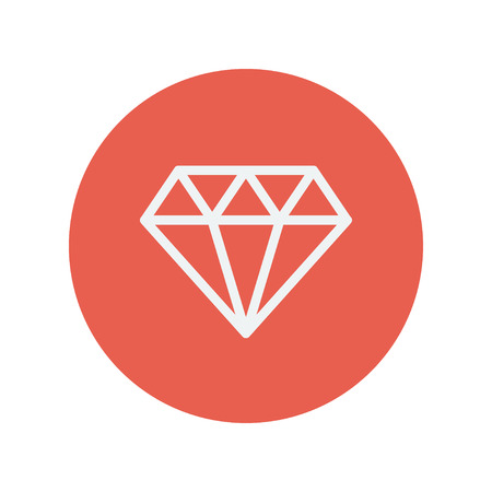 dazzling: Dazzling diamond thin line icon for web and mobile minimalistic flat design. Vector white icon inside the red circle.