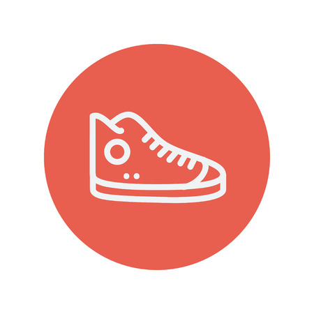 High cut rubber shoe thin line icon for web and mobile minimalistic flat design. Vector white icon inside the red circle. Иллюстрация