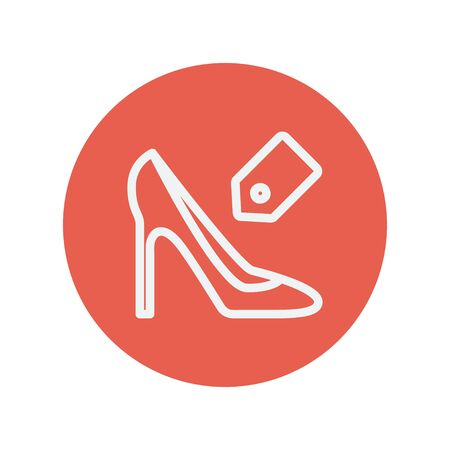 priceless: Shoe with tag thin line icon for web and mobile minimalistic flat design. Vector white icon inside the red circle. Illustration
