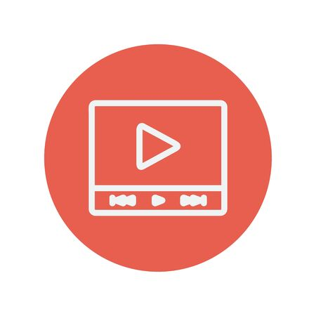 users video: Play sign in movie player thin line icon for web and mobile minimalistic flat design. Vector white icon inside the red circle. Illustration