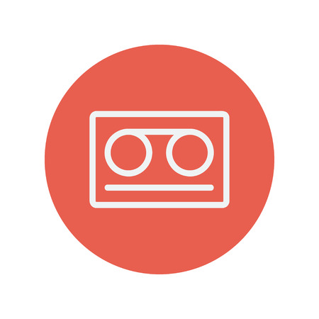minimalistic: Cassette tape thin line icon for web and mobile minimalistic flat design. Vector white icon inside the red circle.
