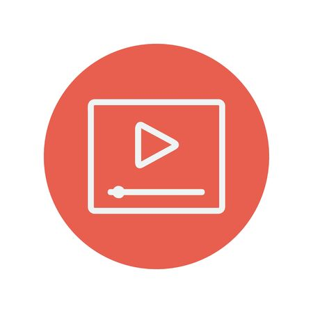 fast forward: Play button with fast forward thin line icon for web and mobile minimalistic flat design. Vector white icon inside the red circle.
