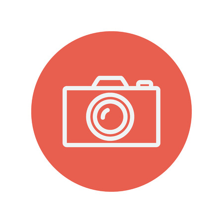 minimalistic: Camera thin line icon for web and mobile minimalistic flat design. Vector white icon inside the red circle. Illustration