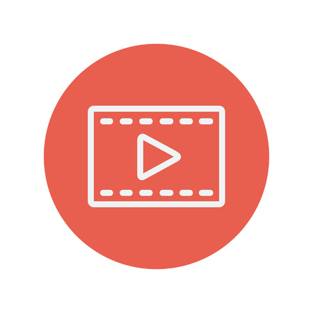 Film strip with arrow thin line icon for web and mobile minimalistic flat design. Vector white icon inside the red circle. Illusztráció