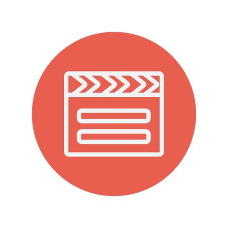 pensil: Clapboard thin line icon for web and mobile minimalistic flat design. Vector white icon inside the red circle.