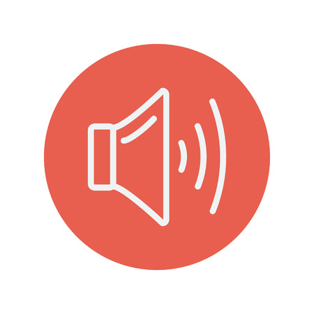 soundsystem: Speaker volume thin line icon for web and mobile minimalistic flat design. Vector white icon inside the red circle. Illustration