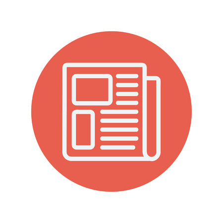 article writing: Newspaper thin line icon for web and mobile minimalistic flat design. Vector white icon inside the red circle. Illustration