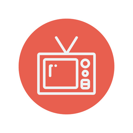vintage television: Vintage television thin line icon for web and mobile minimalistic flat design. Vector white icon inside the red circle. Illustration