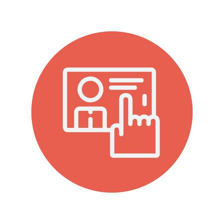 Finger pointing the picture in a smartphone thin line icon for web and mobile minimalistic flat design. Vector white icon inside the red circle.