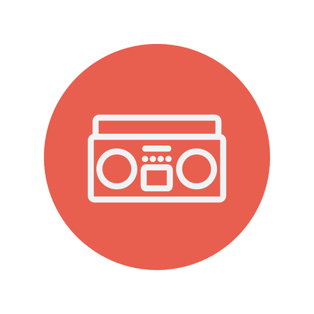 minimalistic: Cassette player thin line icon for web and mobile minimalistic flat design. Vector white icon inside the red circle.