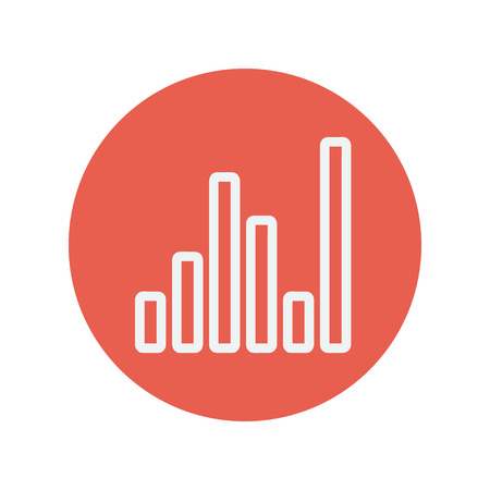 Equalizer thin line icon for web and mobile minimalistic flat design. Vector white icon inside the red circle.