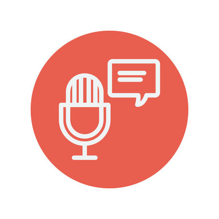 commentator: Microphone with speech bubble thin line icon for web and mobile minimalistic flat design. Vector white icon inside the red circle. Illustration