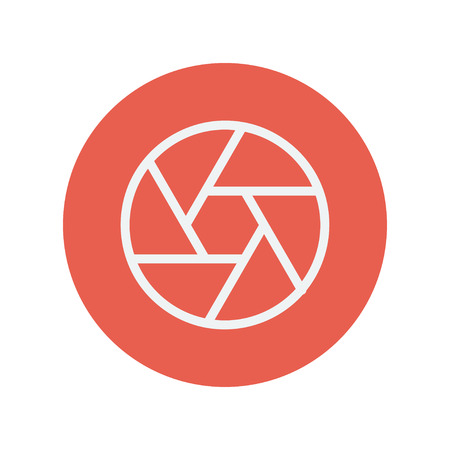Camera shutter thin line icon for web and mobile minimalistic flat design. Vector white icon inside the red circle.
