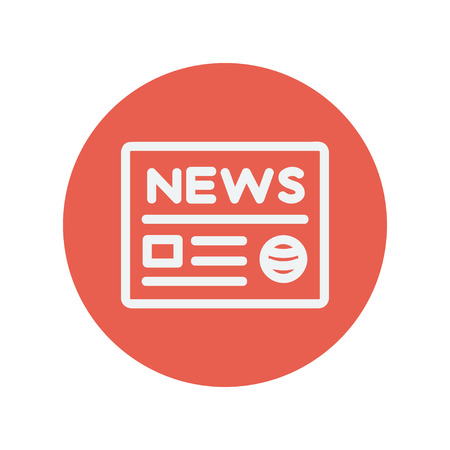 minimalistic: Newspaper thin line icon for web and mobile minimalistic flat design. Vector white icon inside the red circle. Illustration