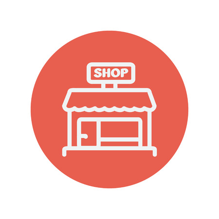 Business shop thin line icon for web and mobile minimalistic flat design. Vector white icon inside the red circle. 일러스트