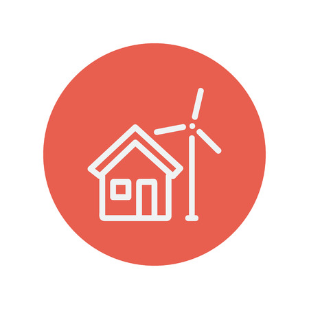solarpower: House with windmill thin line icon for web and mobile minimalistic flat design. Vector white icon inside the red circle.